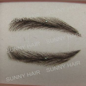 0114 hand made human hair hand knot fake eyebrow #1B
