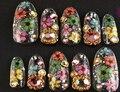 2017 Nuevo 12 Color Decoración Flor Seca Real para UV Gel Acrílico Tips Nail Art