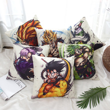Cartoon Dragon Ball Cojín Impreso Funda de Lino Algodón Liso Funda de Almohada Decorativa Throw Pillow Cover para Sofá 45x45 cm Peiyuan