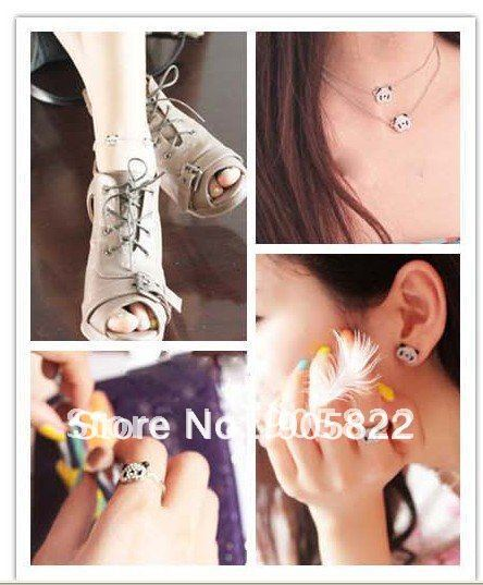 Free shipping+12pcs/lot,Crystal panda design Jewelry sets,Necklace,ring,bracelet&earring sets,Fashion Jewellery sets(TZ004)