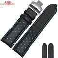 LaopijiangNew hight qualidade Luxo Itália Couro Assista Bracelete 20mm 22mm Watch Band Pulseira Preta
