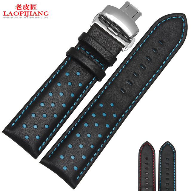 LaopijiangNew hight quality Luxury Italy Genuine Leather Watch Strap 20mm 22mm Watch Band Black Watchband