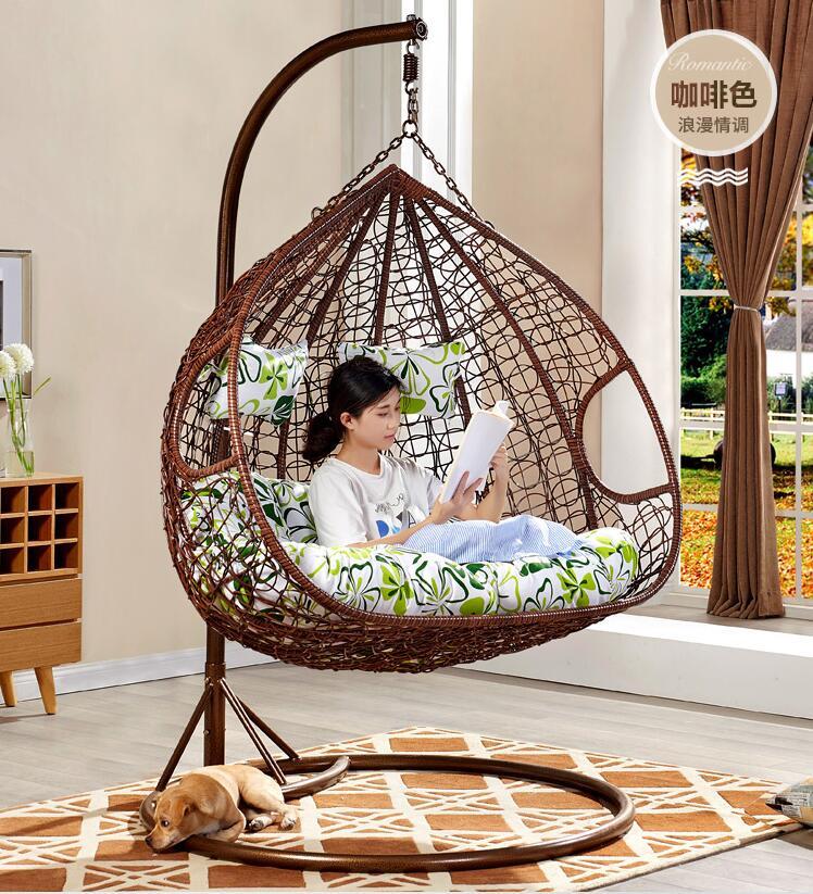 Extérieur suspendu panier rotin chaise loisirs salon balcon balançoire nid d'oiseau berceau double adulte ménage suspendu chaise