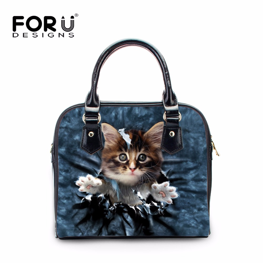 FORUDESIGNS Cute 3D Denim Animal Cat Dog Pattern Women Fashion Crossbody Bags Casual Tote Shoulder Bags for Woman Ladies PU Bags