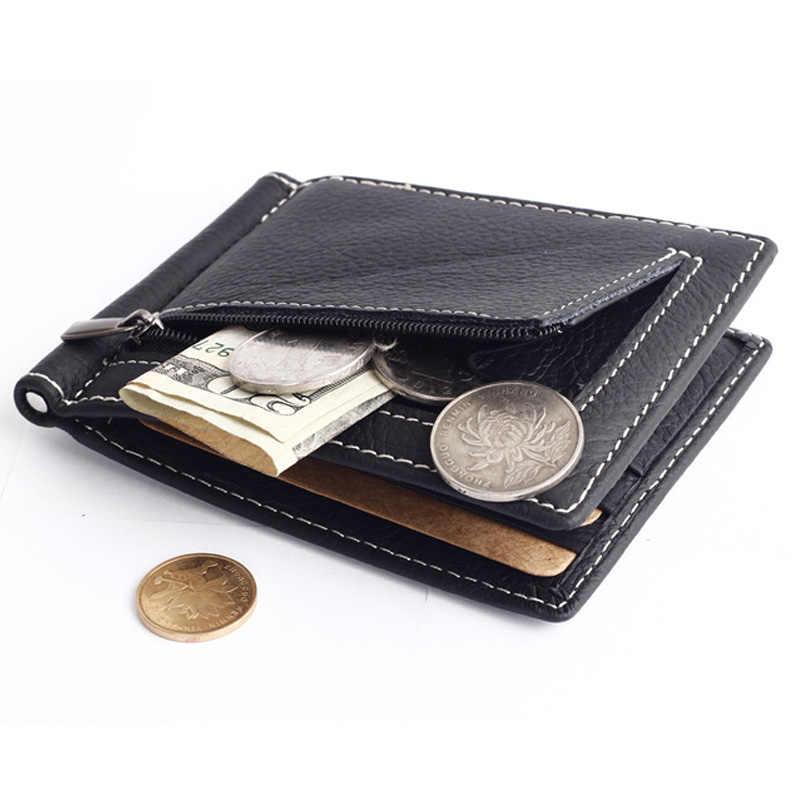 Kulit Asli Slim Uang Klip Dompet untuk Pria Dompet dengan Koin Saku Kredit Slot Kartu Pria Uang Tas Hitam kopi