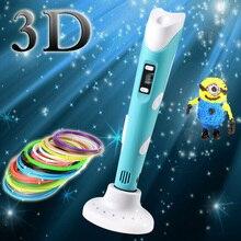 1.75 мм ABS/PLA DIY 3D Печать Ручка LED/ЖК-Дисплей 3D Ручка Живопись Ручка + Нити + адаптер Творческий Подарок Игрушки Для Малыша, Дизайн, Рисование