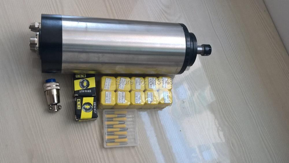 CNC spindle kit,ER16 1.5KW water cooling spindle motor+10 pcs ER 16 collets+2 pcs ER16 nuts+10 pcs cnc engraving bits шпиндель станка suzhou industry city 220v1 5kw cnc er16