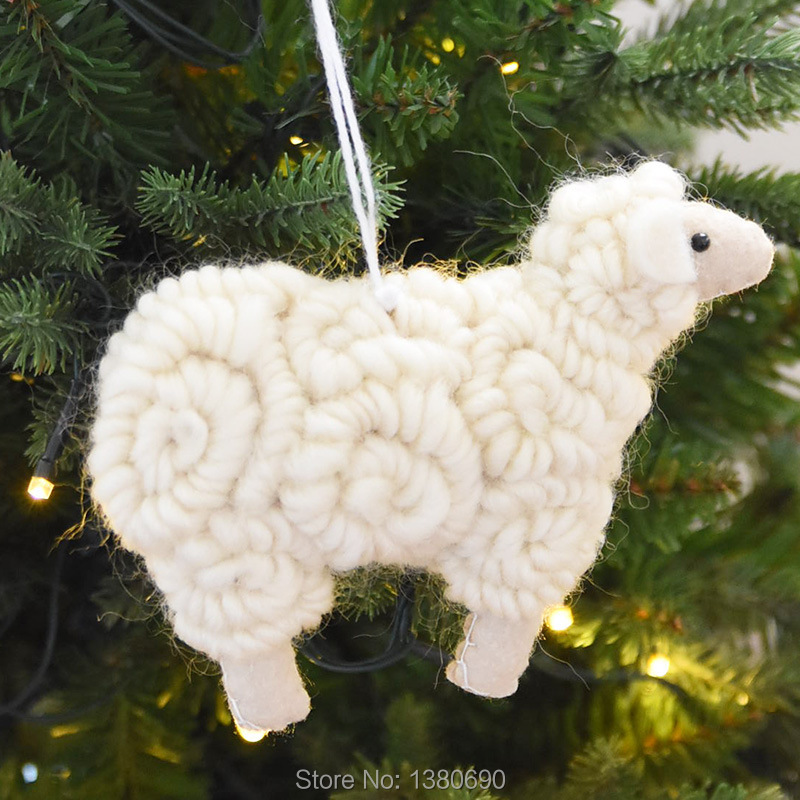 Goat Christmas Ornament.High Quality Lovely Wool Felt Sheep Goat Doll Christmas Tree Decoration Hanging New Year Decoration For Home Gift For Kids
