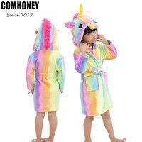 Baby Bath Robe Bathrobes for Boys Girls Pyjamas Rainbow Unicorn Pattern Hooded Bebe Towel Beach Kids Sleepwear Children Clothes