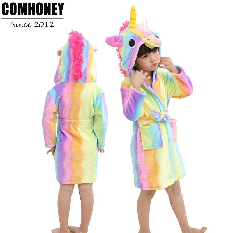 ₩Bebé de baño para niños niñas pijamas Rainbow unicornio patrón ...