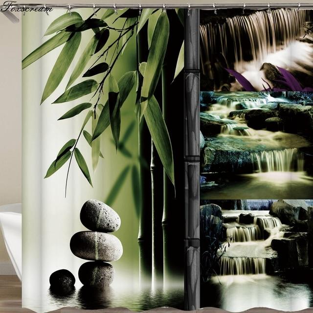 Zen shower curtains bathroom curtain Home Decor Green Yellow Zen Garden Theme Bamboo Waterproof show curtain
