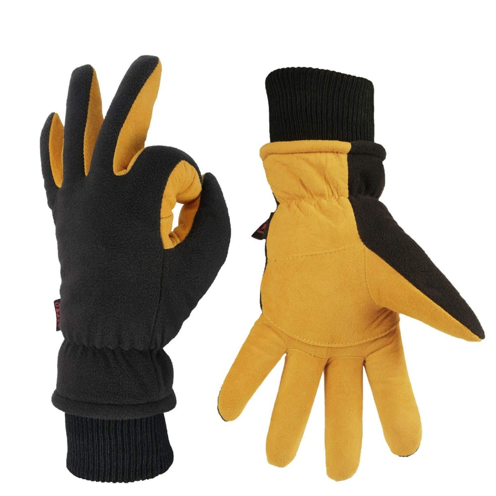 цена на Ski Gloves Winter Waterproof Thermal Mittens for Men & Women Winter Gloves Yellow and Black Deerskin Suede Leather