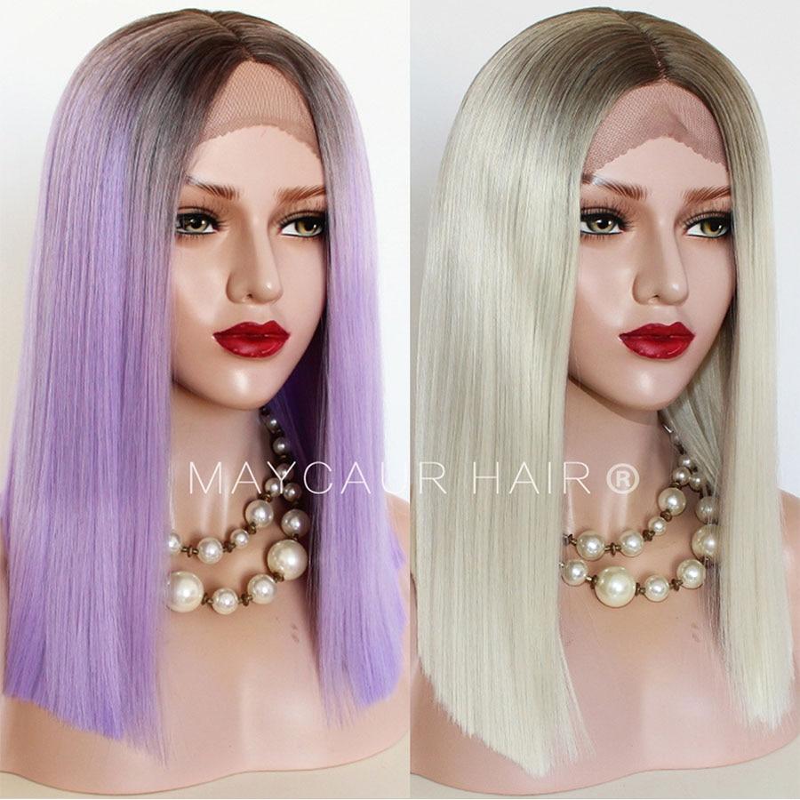 Black White Purple Blonde Ombre Color Lace Front Wigs Long