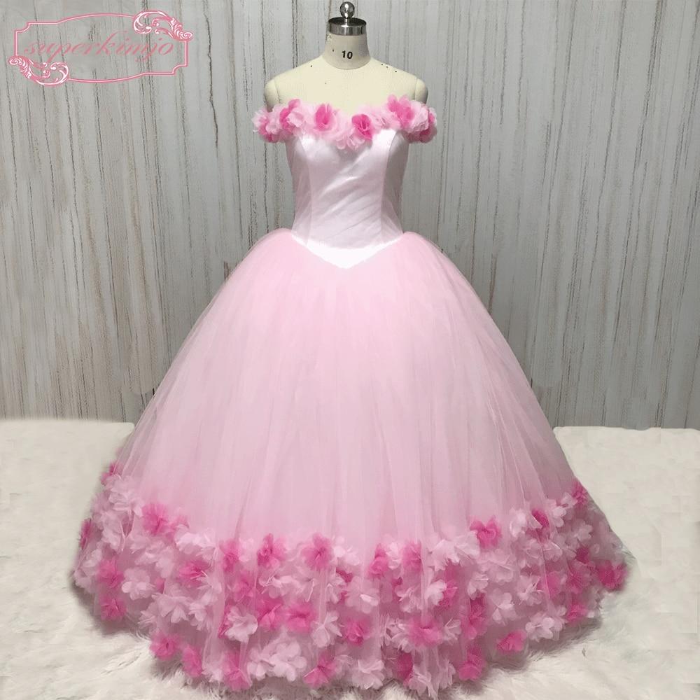 Superkimjo Vestido De Noiva Off The Shoulder Pink Flowers Wedding