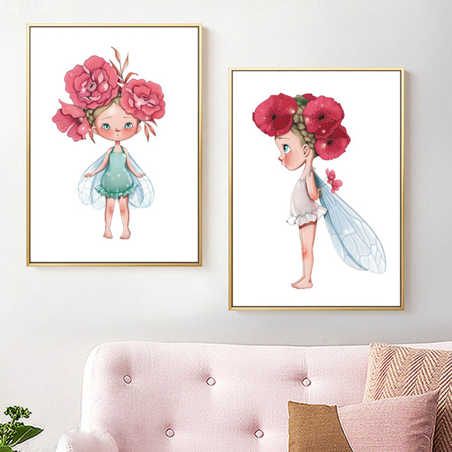 Nordic Painting Lovely Little Girl Canvas Prints Minimalism Modular Pictures Flower Poster Wall Art Home Decor Living Room