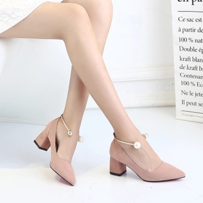 2018 spring and autumn new female rough with pointed shoes Korean version of the wild fashion high-heeled shoes 2018the new women s patent leather and shoes classic korean version of the classic korean shoes red wedding shoes