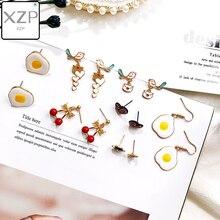 XZP New Korean Japan Lovely Enamel Cherry Egg Pigeon Blue Universe Planet Star Moon Stud Earrings for Women Girl Gift