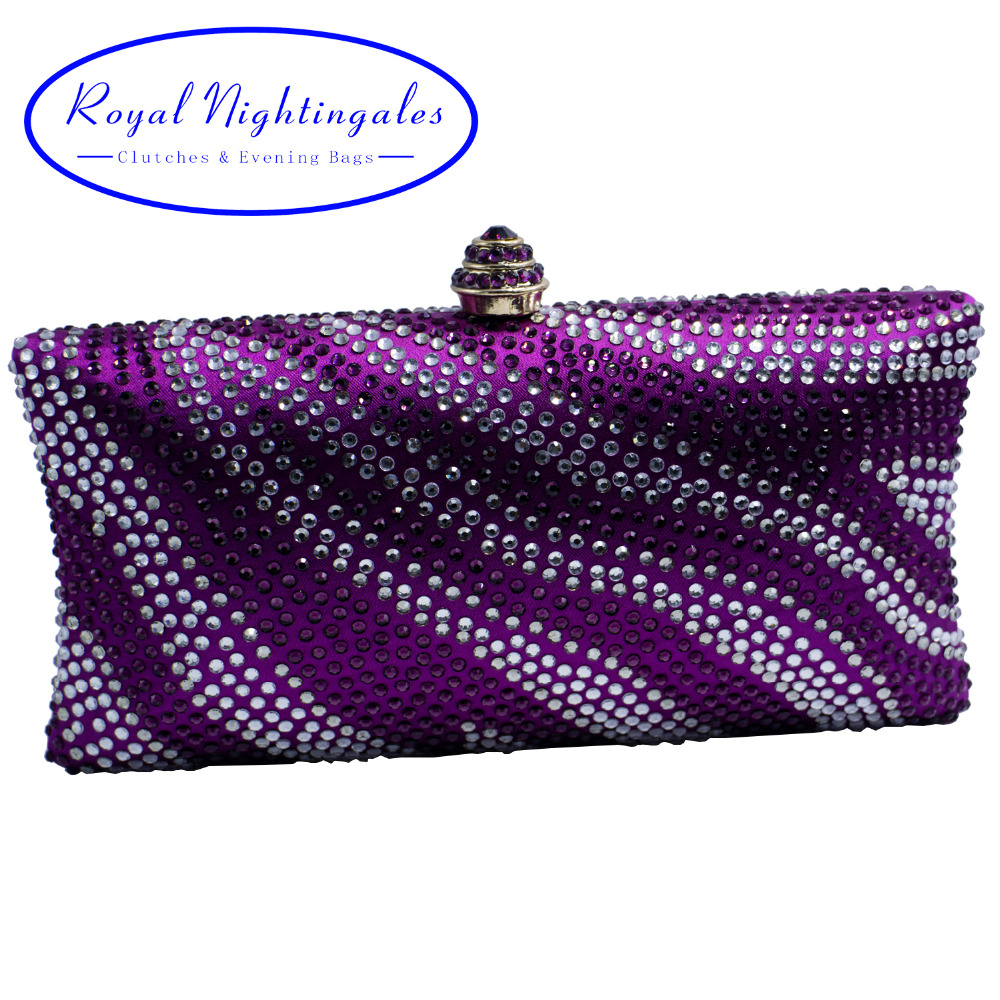 Factory Wholesale Purple Womens Evening Bag with Rhinestone Crystal Clutch Purse