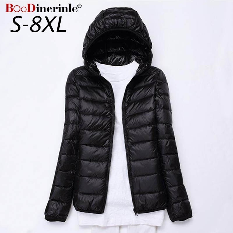 8XL 7XL Plus Size Ultra Light   Down   Jacket Women White Duck   Down   Jacket Woman Hooded   Coat   Female Women's Winter Jackets 5XL 6XL
