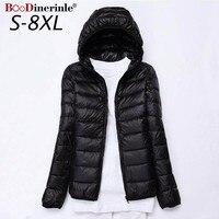 8XL 7XL Plus Size Ultra Light Down Jacket Women White Duck Down Jacket Woman Hooded Coat Female Women's Winter Jackets 5XL 6XL