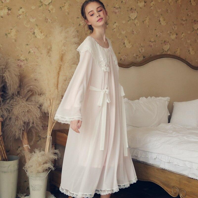 Court Nightgowns &sleepshirts Women Autumn Winter Lace Mesh White Pink Long Sleeve Soft Comfy Sleep Wear Home Dress Female