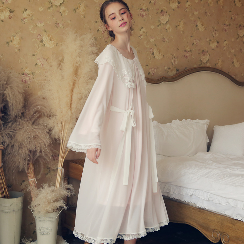 Court   Nightgowns   &  sleepshirts   Women Autumn Winter Lace Mesh White Pink Long Sleeve Soft Comfy Sleep Wear Home Dress Female