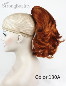 Image 4 - 強い美容合成ショート波状ブロンド黒ポニーテールクリップで/上のヘアピース爪クリップポニーテイル用髪エクステンション