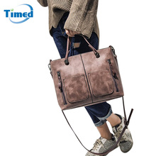 New 2017 Women's Handbags Solid Shoulder Bag With Pocket Fashion Totes Personality Casual Large Capacity Bags For Female