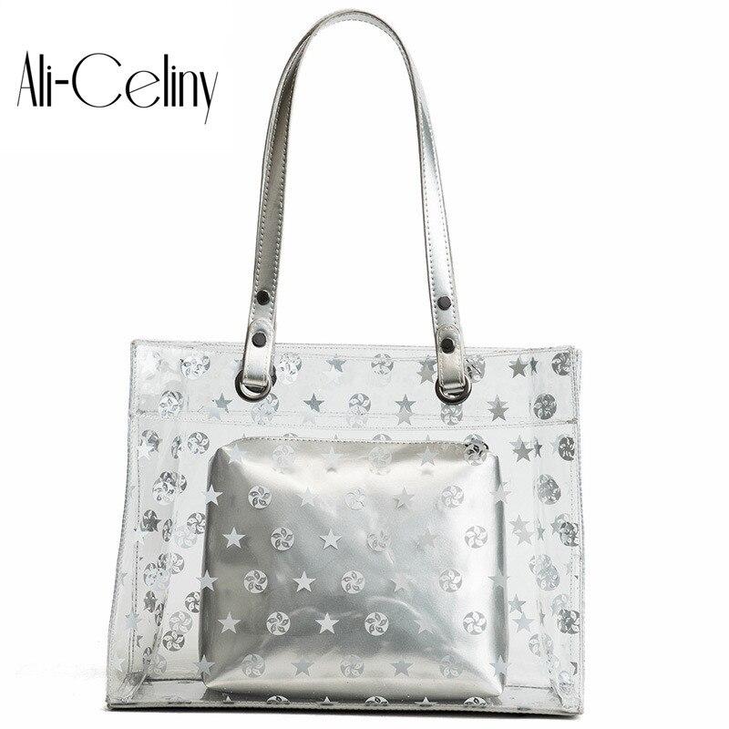 2-in-1 Brand original design tote Womans Big Bag printing Handbag High-capacity Shoulder Bag Transparent Messenger Bag Shopping