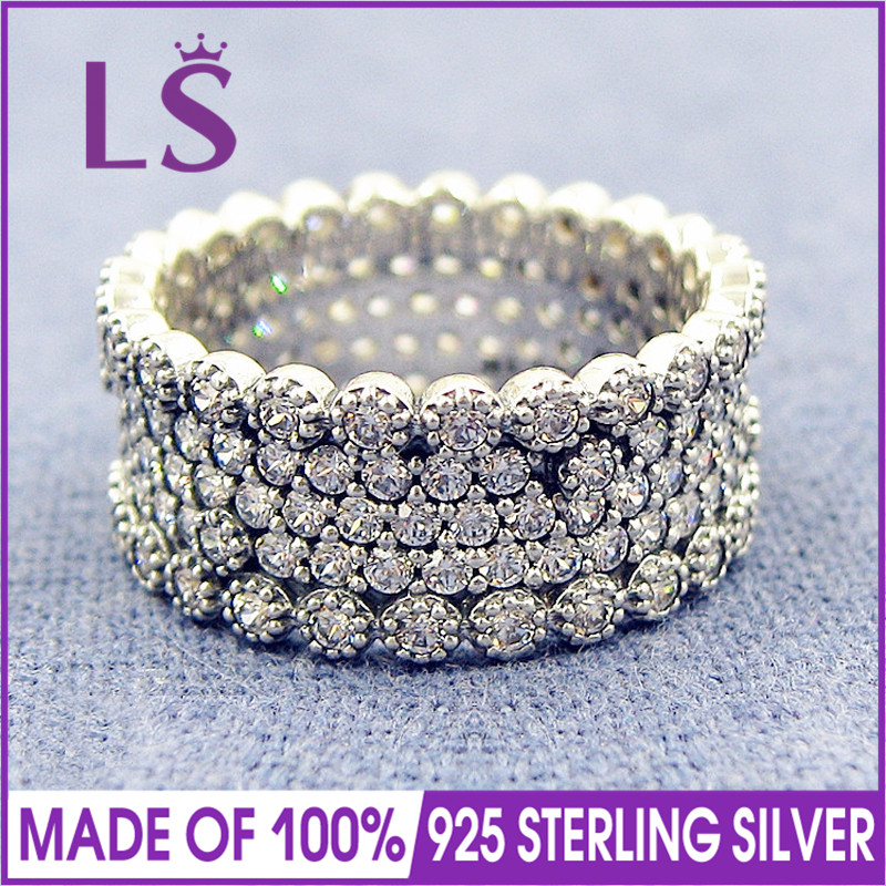 LS Hot Sale High Quality 100% Real 925 Sterling Silver Lavish Sparkle Clear CZ Ring For Women Wedding Ring Fine Jewelry N hot sale new collection good quality luxuxious shine 925 real silver honeycomb lace ring