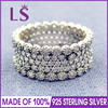LS Hot Sale High Quality 100 Real 925 Sterling Silver Lavish Sparkle Clear CZ Ring For