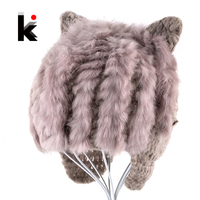 Autumn Winter Baby Hat Kids Knitted Cap Cute Rabbit Fur Hats With Ears Children Beanies For