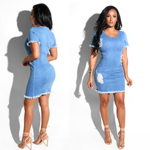 цены Summer hot new women's dress Slim fashion casual jeans high waist tight women dress sexy zipper women's denim dress
