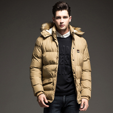 Solid Down Cotton Winter Jacket Men Plus Size M-4Xl Removable Hoody Thick Mens Winter Parka With Fur Hood Wjm35 DD