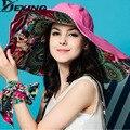 Дизайн моды Открытый Защита От УЛЬТРАФИОЛЕТОВЫХ ЛУЧЕЙ Цветок Складная Широкими Полями Вс Шляпа Летние Шляпы для Женщины chapeau femme пляж шляпа