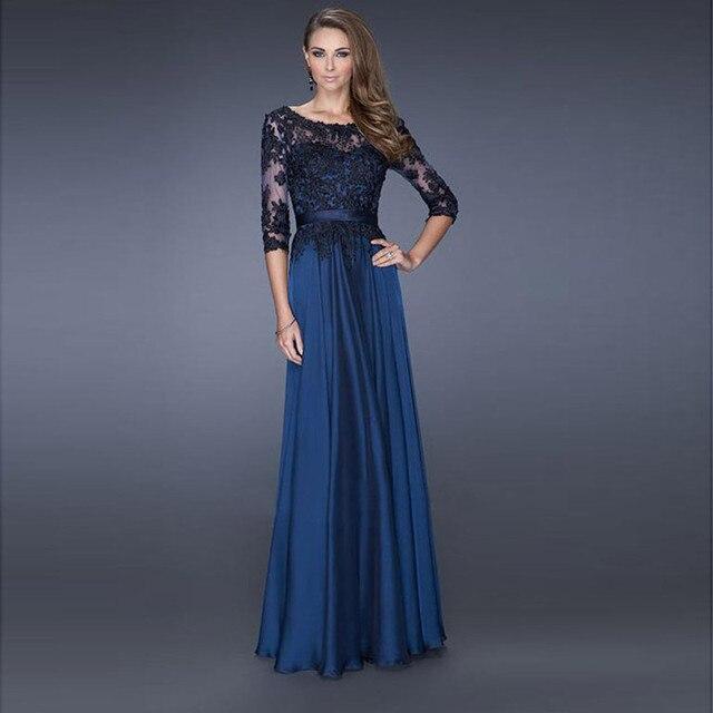 Vestido Де Madrinha Новый Модный синий Длинное Платье Элегантный 2016 Шифон Брючный Костюм Мать Невесты Платья