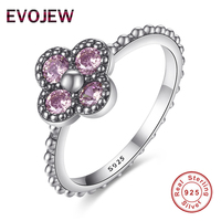 Authentic 100 925 Sterling Silver Ring Dazzling Pink CZ Flower Crystal Rings For Women Luxury Wedding
