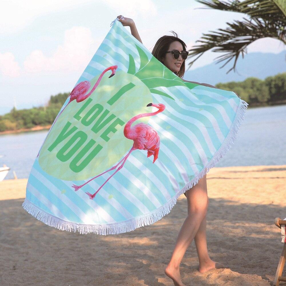 Microfiber Strandlaken Ronde Met Kwastje Bohemian Flamingo Strand Handdoeken Deken Mat Boho Matten Microfiber Strand Badhanddoek Pure En Milde Smaak