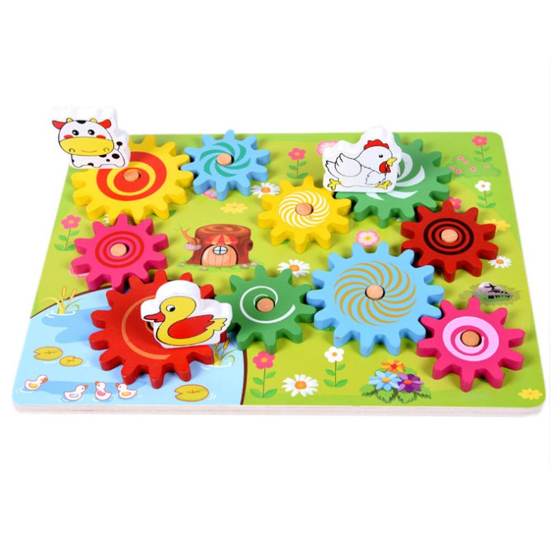 Wooden Animal Gear Game Combination Rotating Gearwheel Children Educational Toys Hand-eye Interaction Kids Fun Puzzle Toy