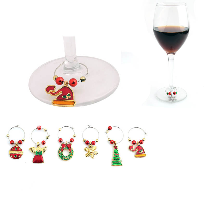 1 Set Christmas Wine Glass Decoration Charms Party New Year Cup Ring Table Decorations Xmas