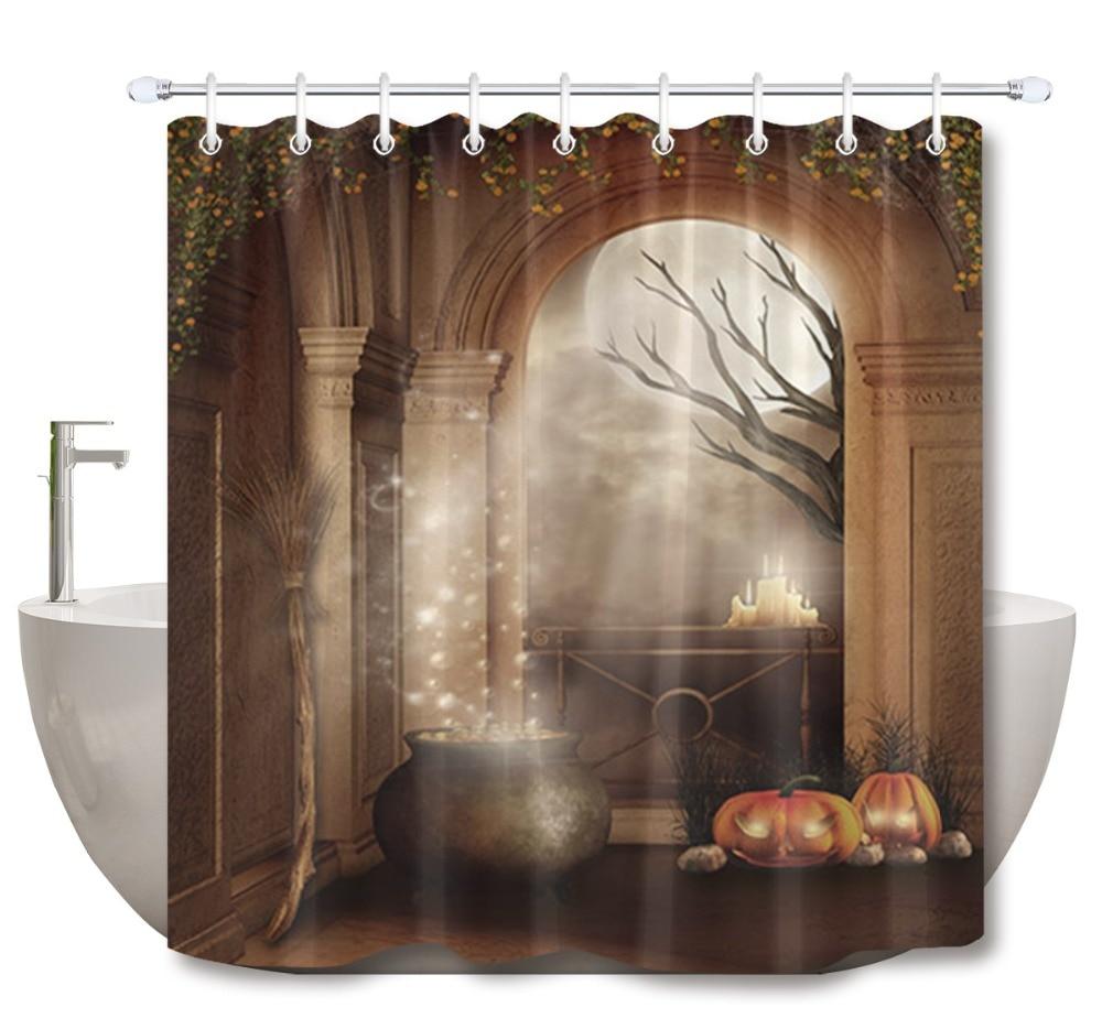 LB Halloween Shower Curtains Bathroom Curtain Castle
