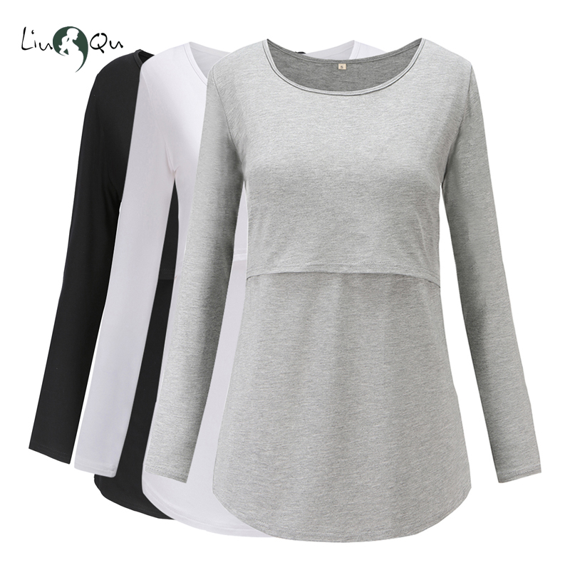 Pack of 3pcs Nursing Maternity Tops Pregnant Long Sleeve Breastfeeding Blouse Women Top Mama Clothes Pregnancy T shirt Premaman