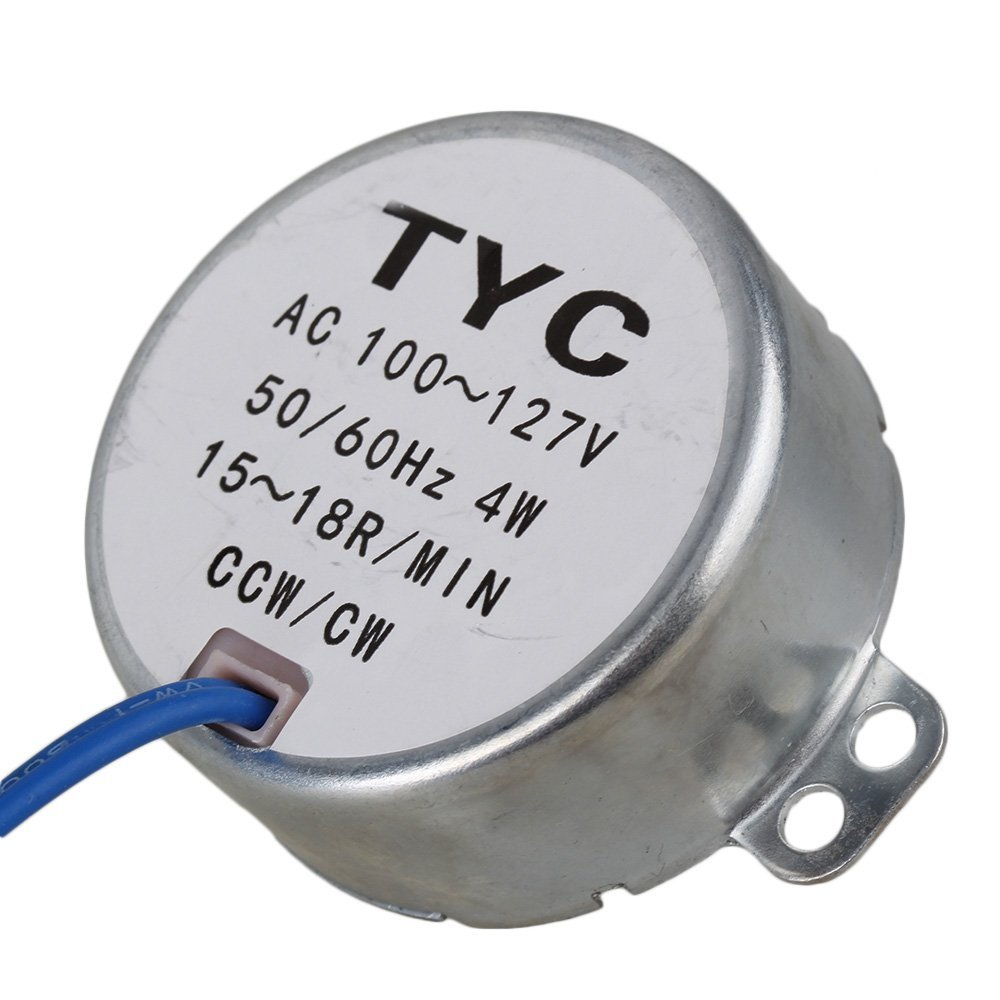 Silver AC110V 15-18RPM Metal Synchronous Gear Reduction Motor CW//CCW
