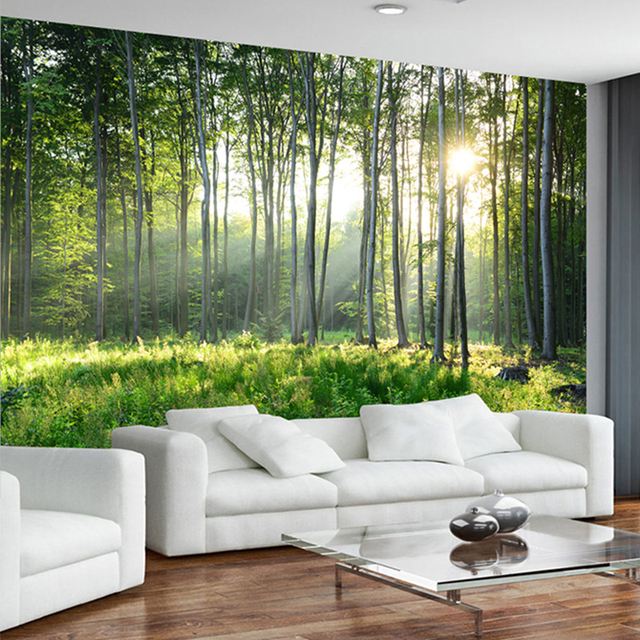 personnalis photo papier peint 3d vert for t nature paysage peintures murales salon chambre. Black Bedroom Furniture Sets. Home Design Ideas