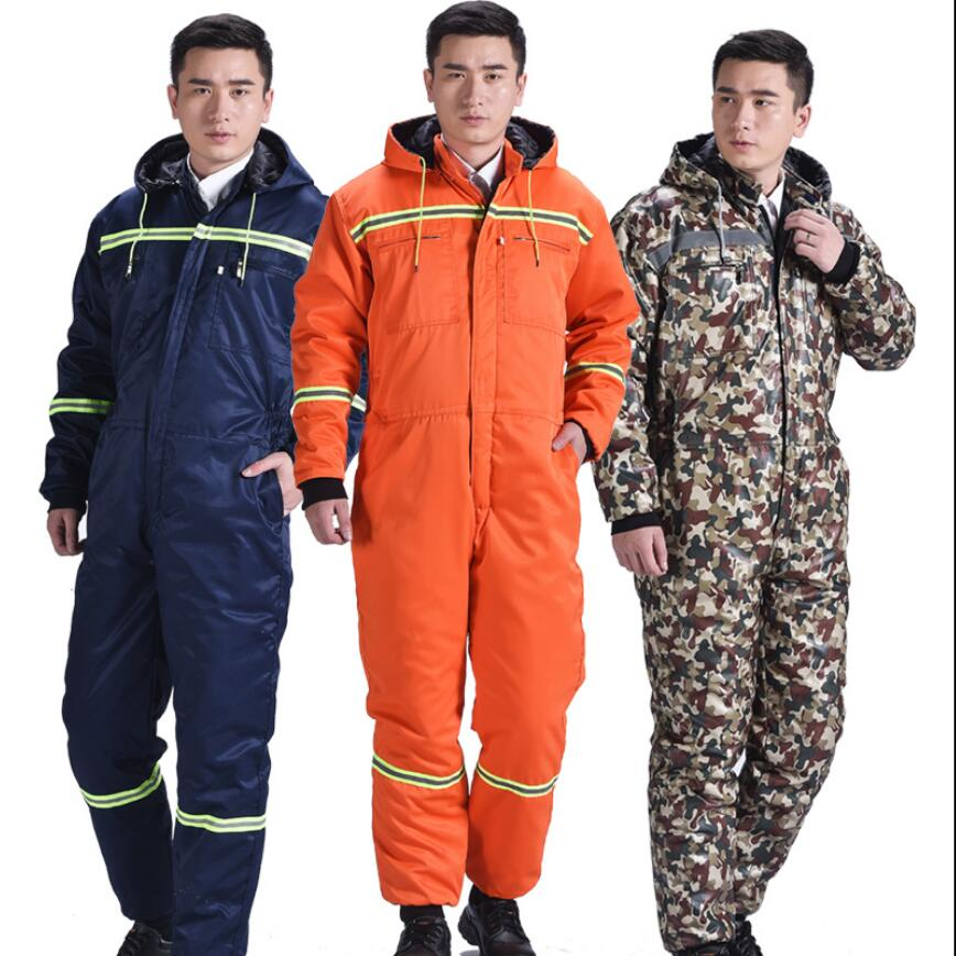 M-4XL Men Winter Work Cotton One-piece Overalls Thickening Jumpsuit Construction Labor Factory Siamese Protective Clothes