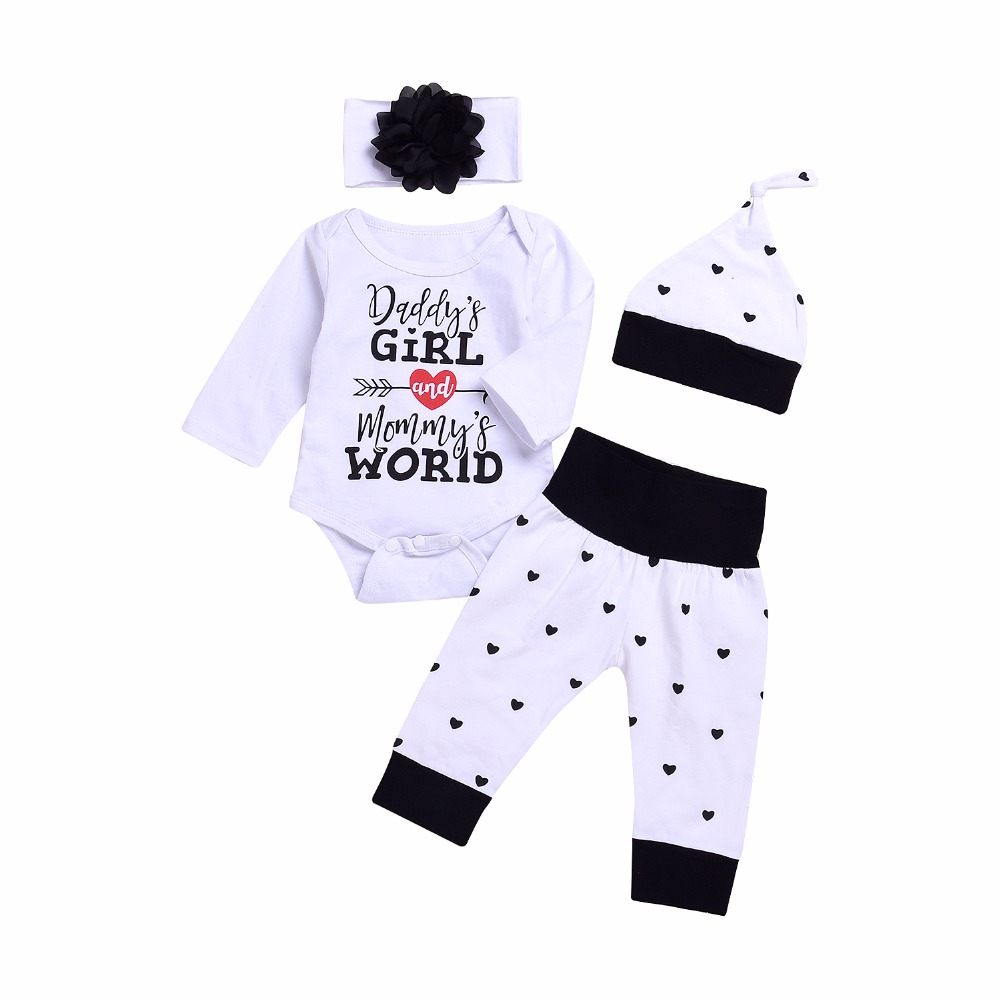 Infant Baby Daddys Girl Romper Top Outfit Baby Boy Long Pant Hat Headband Kids 4Pcs Bebes Cute Jumpsuit Clothes ship from USA