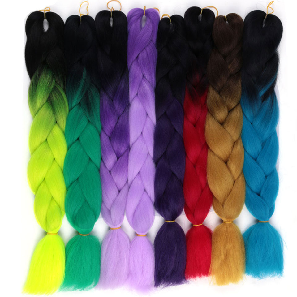 Jumbo Braids Helpful Mokogoddess Ombre Colors Jumbo Braids Synthetic Kanekalon Hair 24 Inch 100g/piece Jumbo Braid Hair Extension Perfect In Workmanship Hair Braids