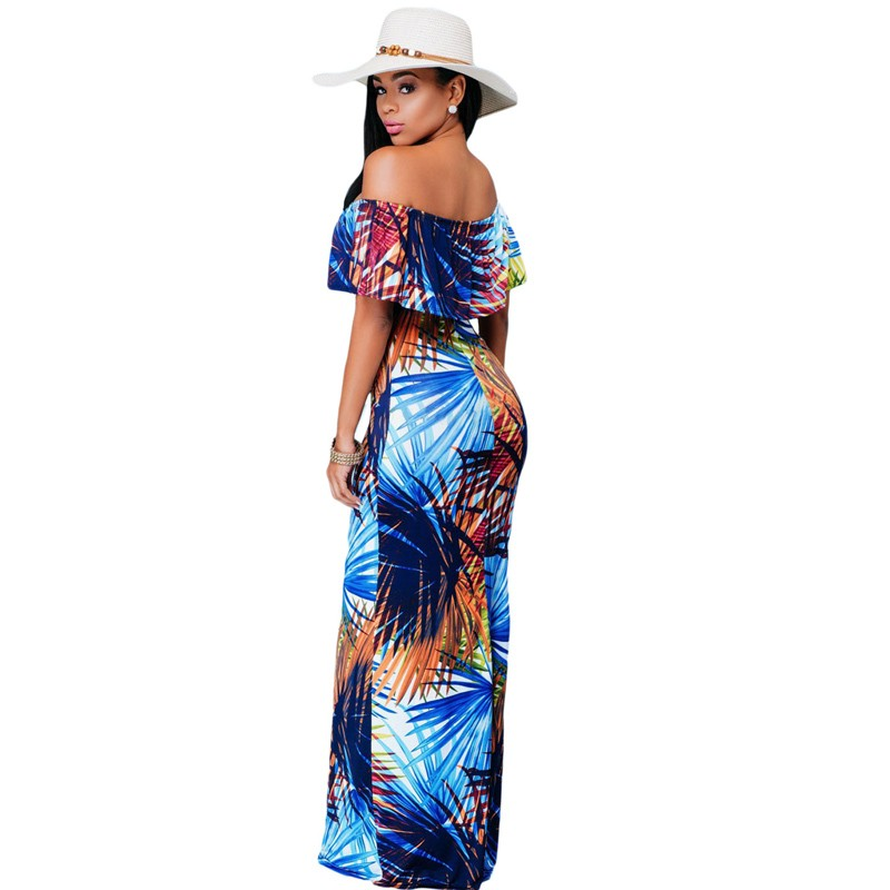 Zkess Tropical Print Dress Women Long Party Dresses 2017 Elegant Bohemia Dress Maxi Mermaid Gown Vestido de festa LC61189 12