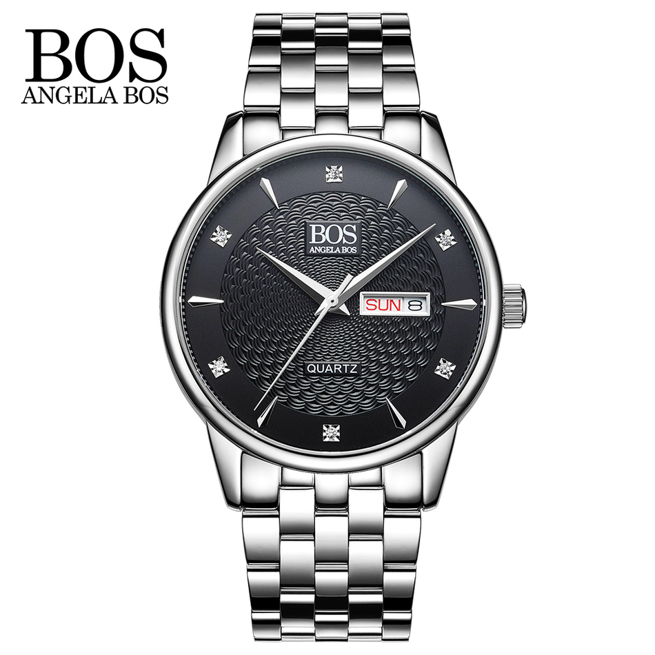 ANGELA BOS Business Wavy Texture Stainless Steel Luxury Watch Men Famous Brand Calendar Date Quartz Rhinestones Men's Watches angela bos cool mens watches top brand luxury quartz watch stainless steel date rhinestones waterproof wrist watches for men