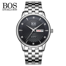 ANGELA BOS Business Wavy Texture Stainless Steel Luxury Watch Men Famous Brand Calendar Date Quartz Rhinestones Men's Watches